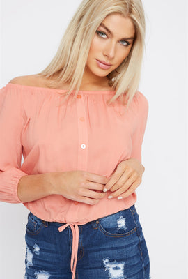 Off The Shoulder Button Detail Cinched Hem Blouse