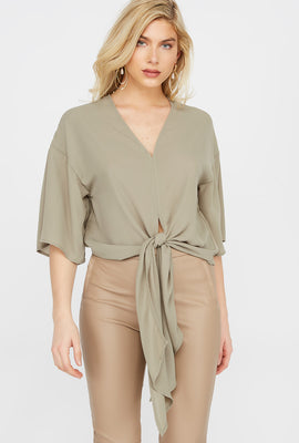 Wide Short Sleeve Front Tie Blouse