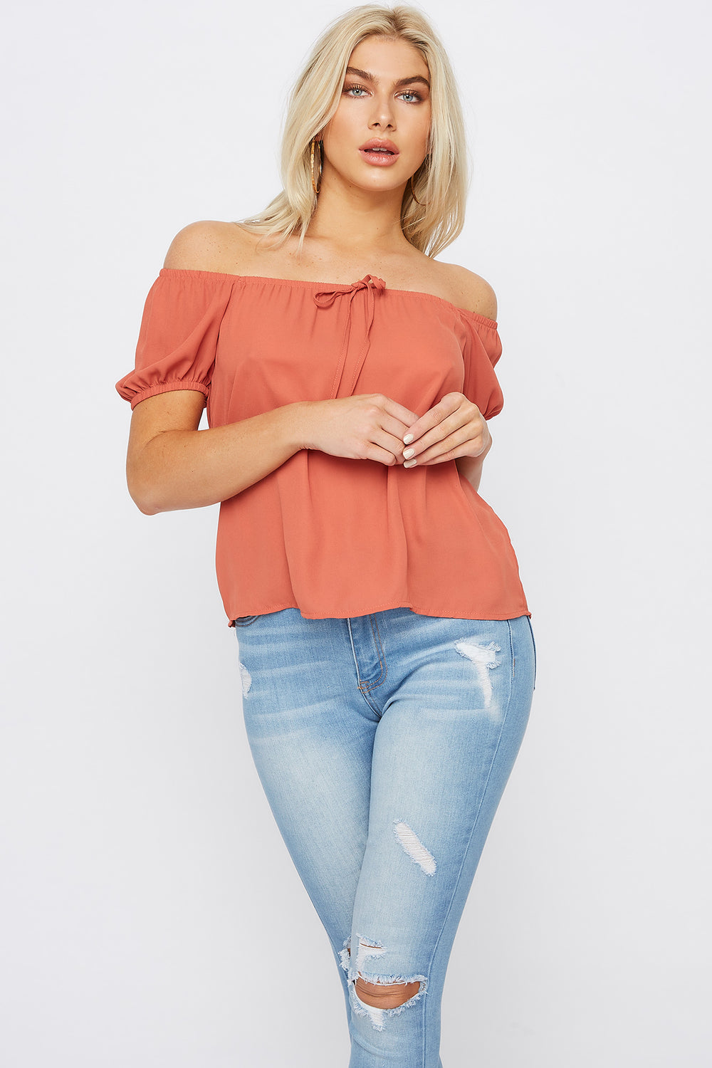 Off The Shoulder Bow Top Rust