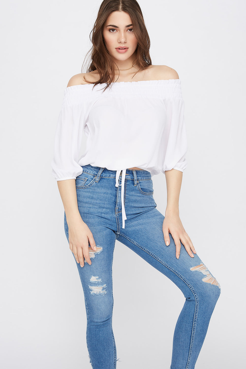 Chiffon Smocked Off The Shoulder Top White