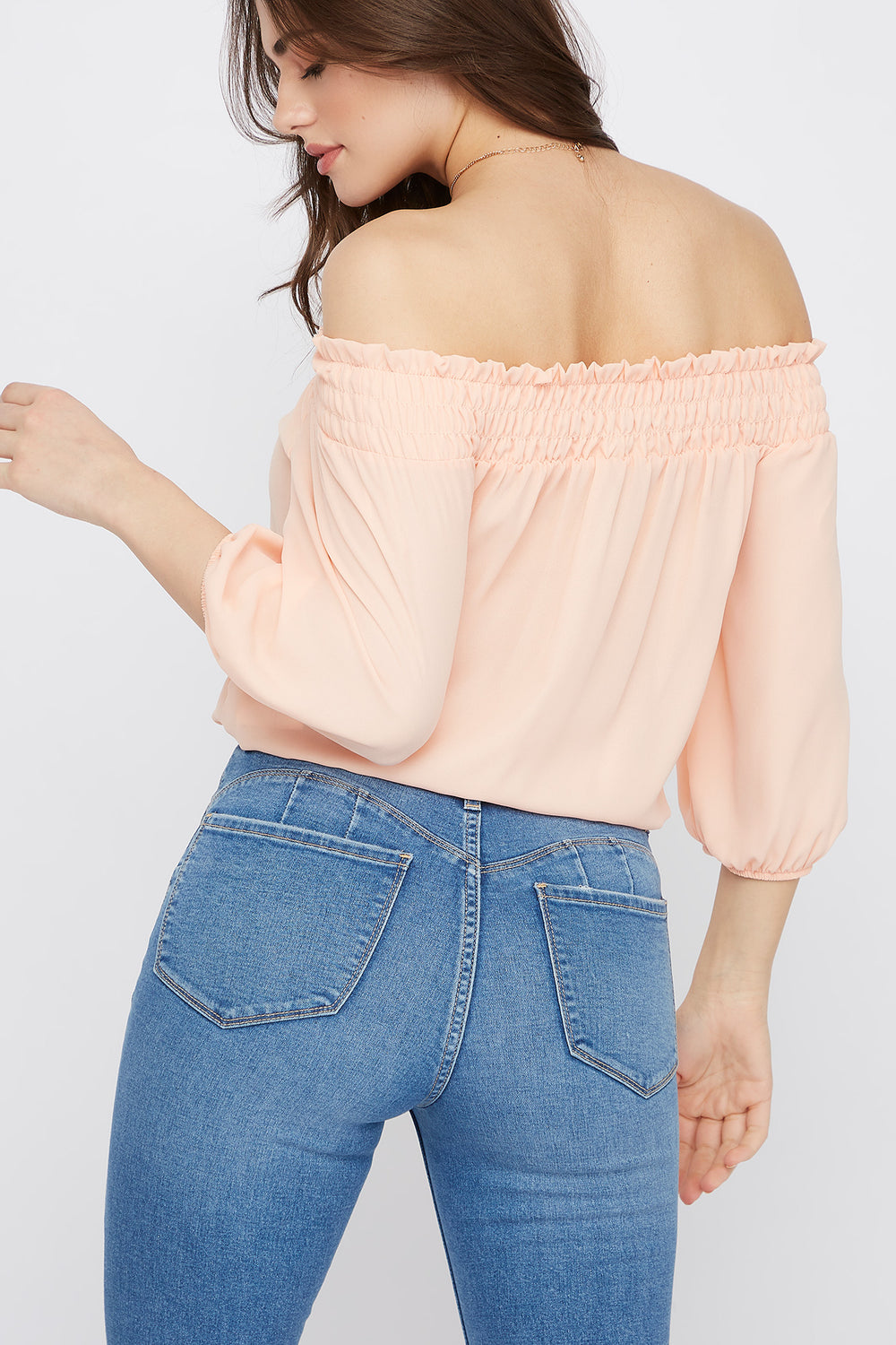 Chiffon Smocked Off The Shoulder Top Peach