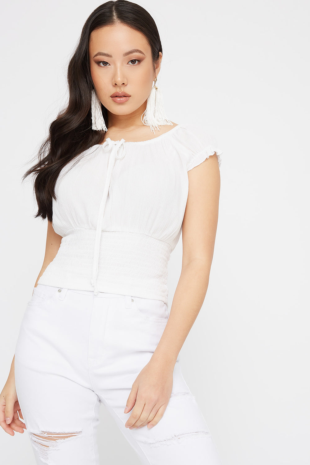 Smocked Cap Sleeve Peasant Top White
