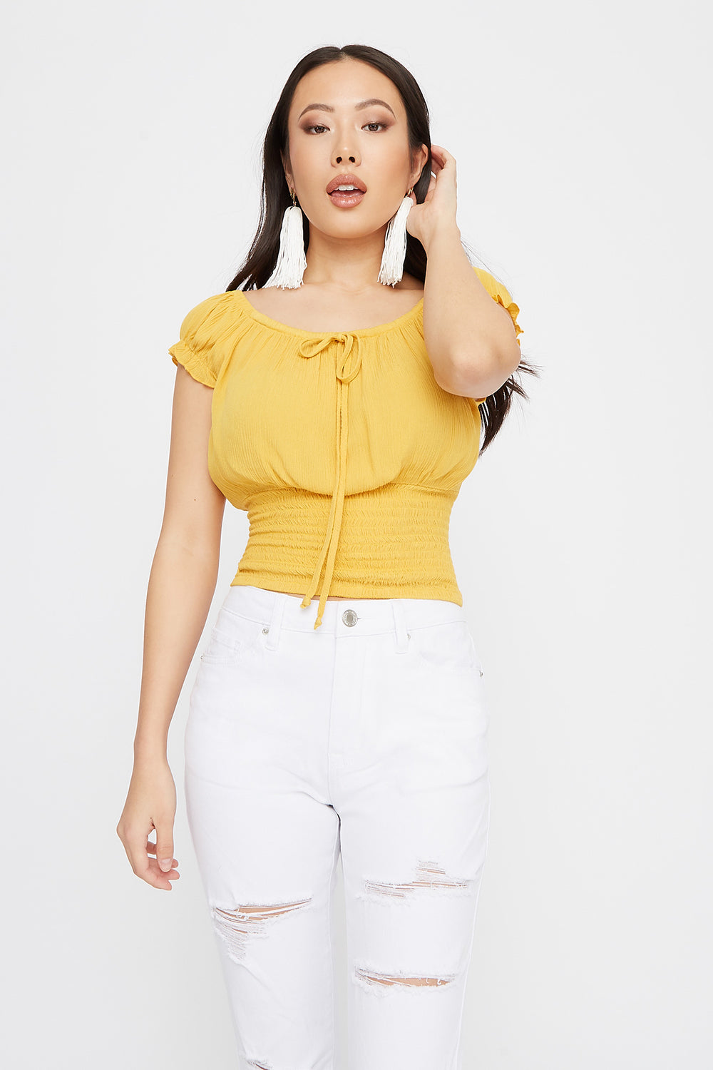 Smocked Cap Sleeve Peasant Top Yellow