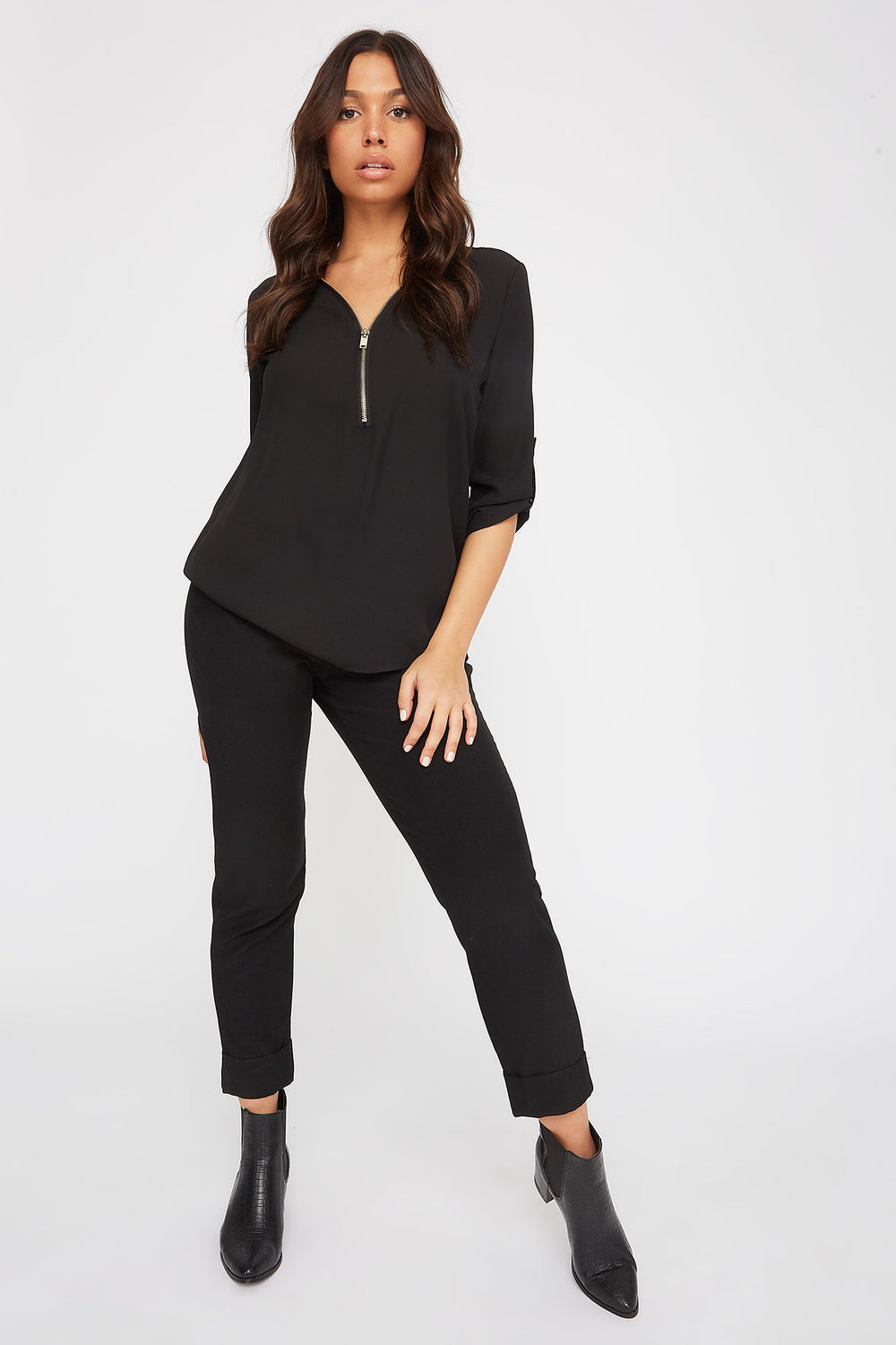 Half-Zip Roll-Tab Blouse Black