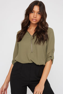 Half-Zip Roll-Tab Blouse