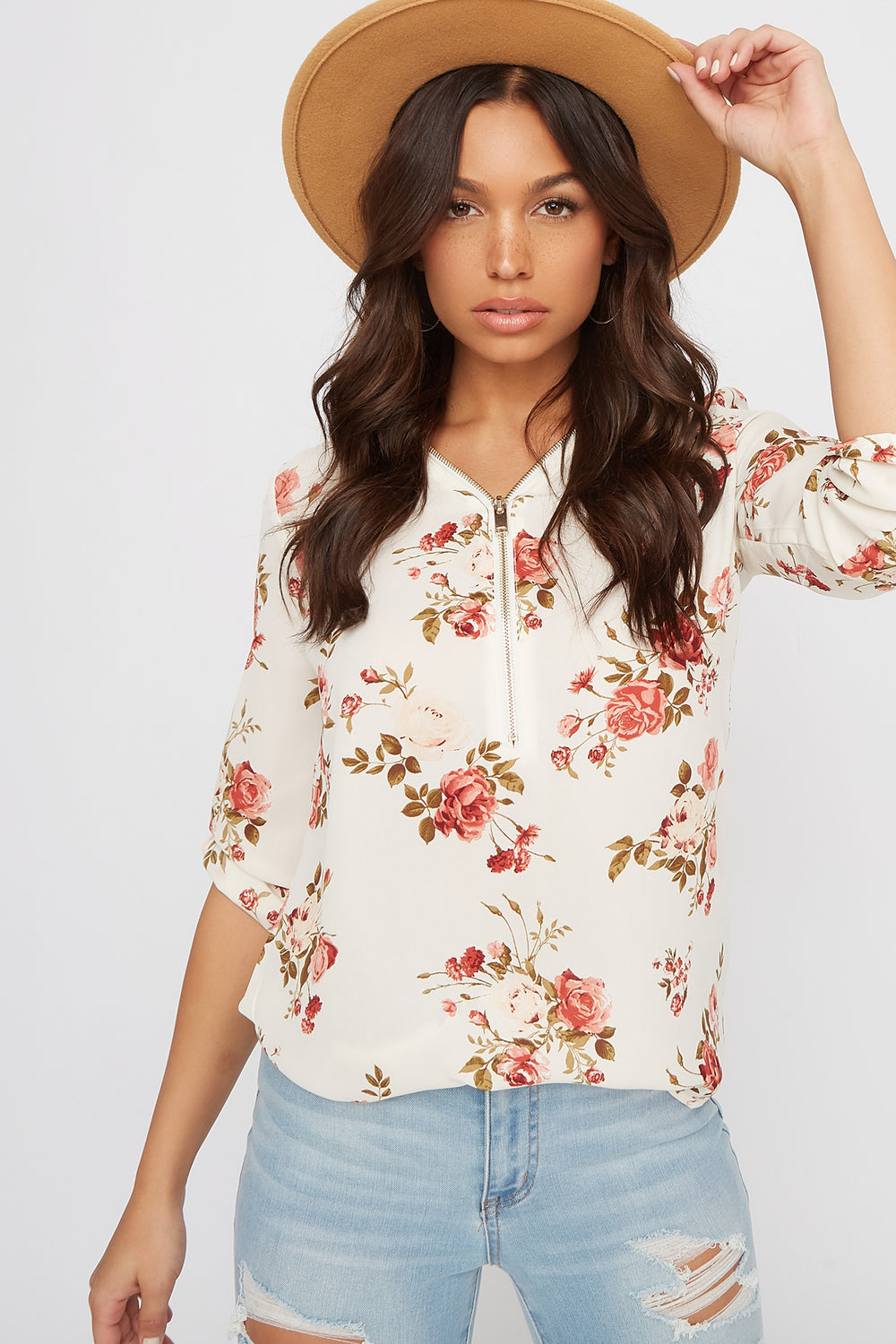 Half-Zip Roll-Tab Blouse Ivory