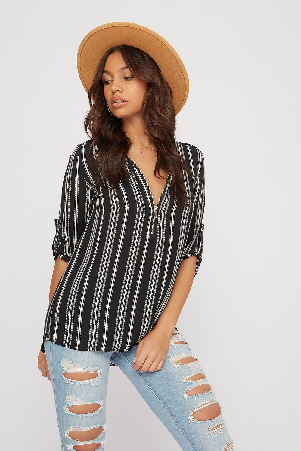 Half-Zip Roll-Tab Blouse Black with White
