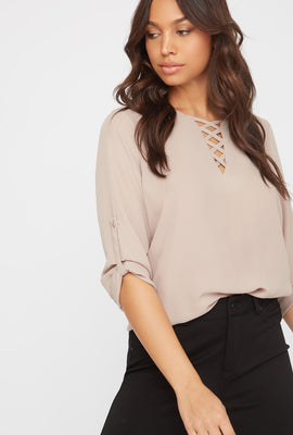 Criss Cross Roll-Tab Blouse