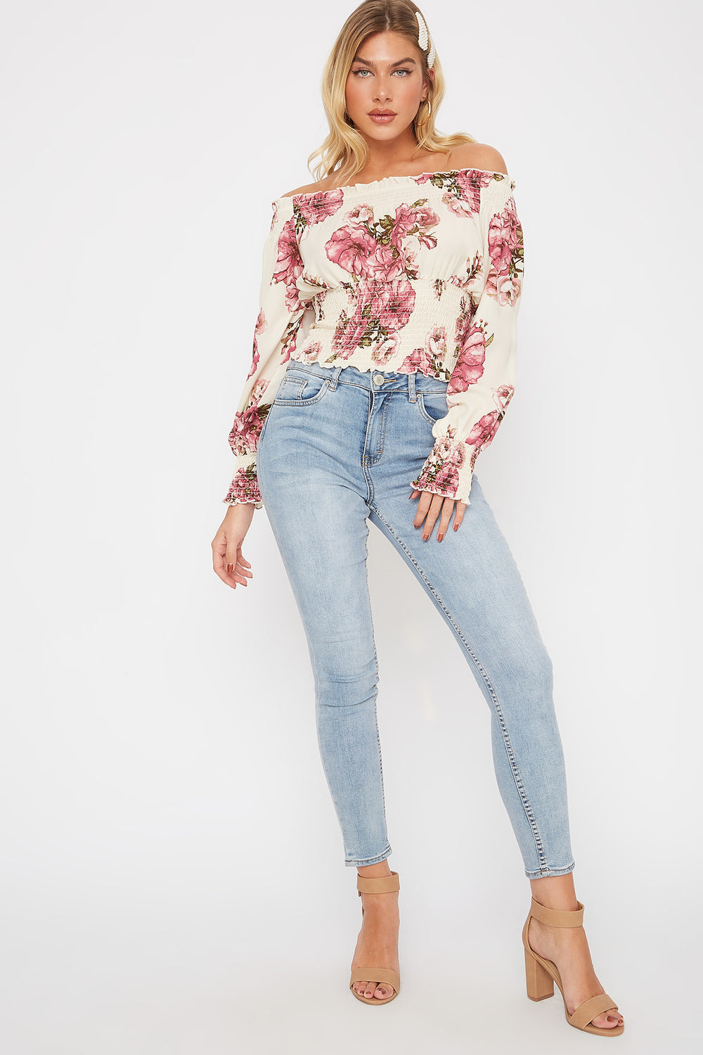 Floral Print Off The Shoulder Smocked Blouse Ivory