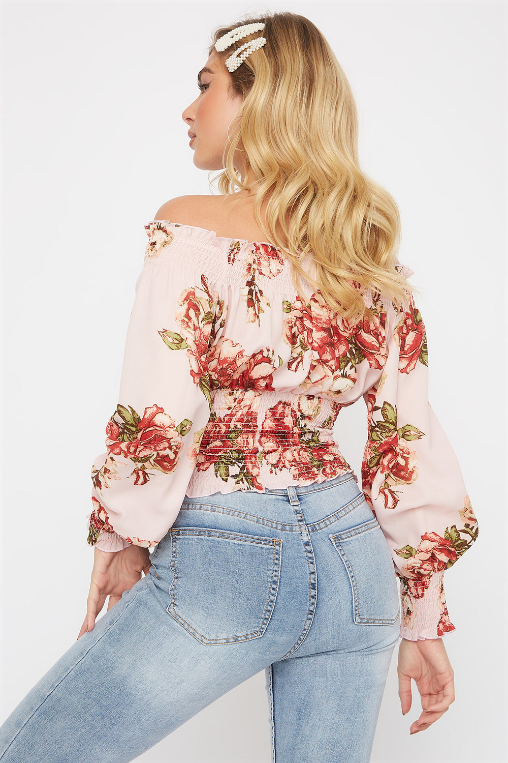 Floral Print Off The Shoulder Smocked Blouse Dusty Rose