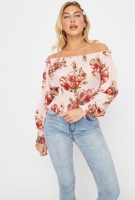 Floral Print Off The Shoulder Smocked Blouse
