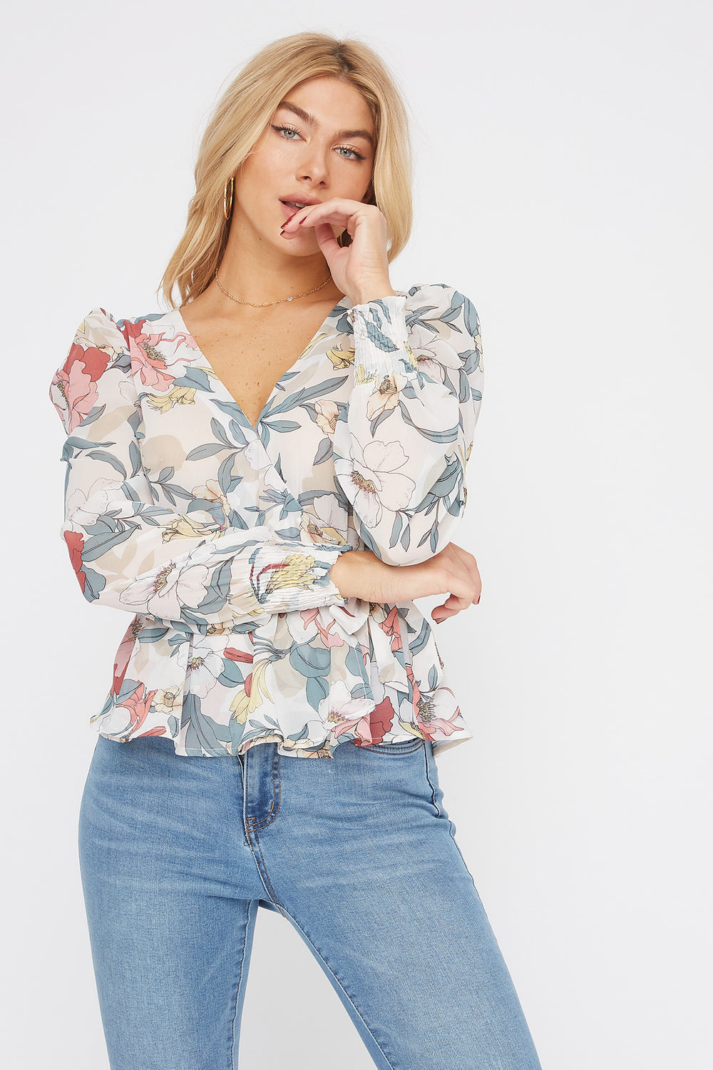 Floral V-Neck Side Tie Puff Sleeve Blouse White