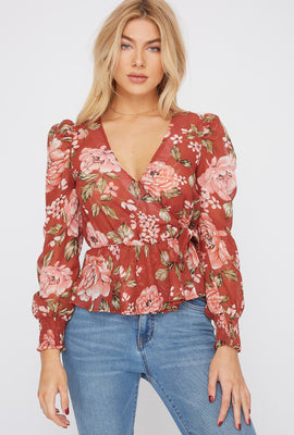 Floral V-Neck Side Tie Puff Sleeve Blouse