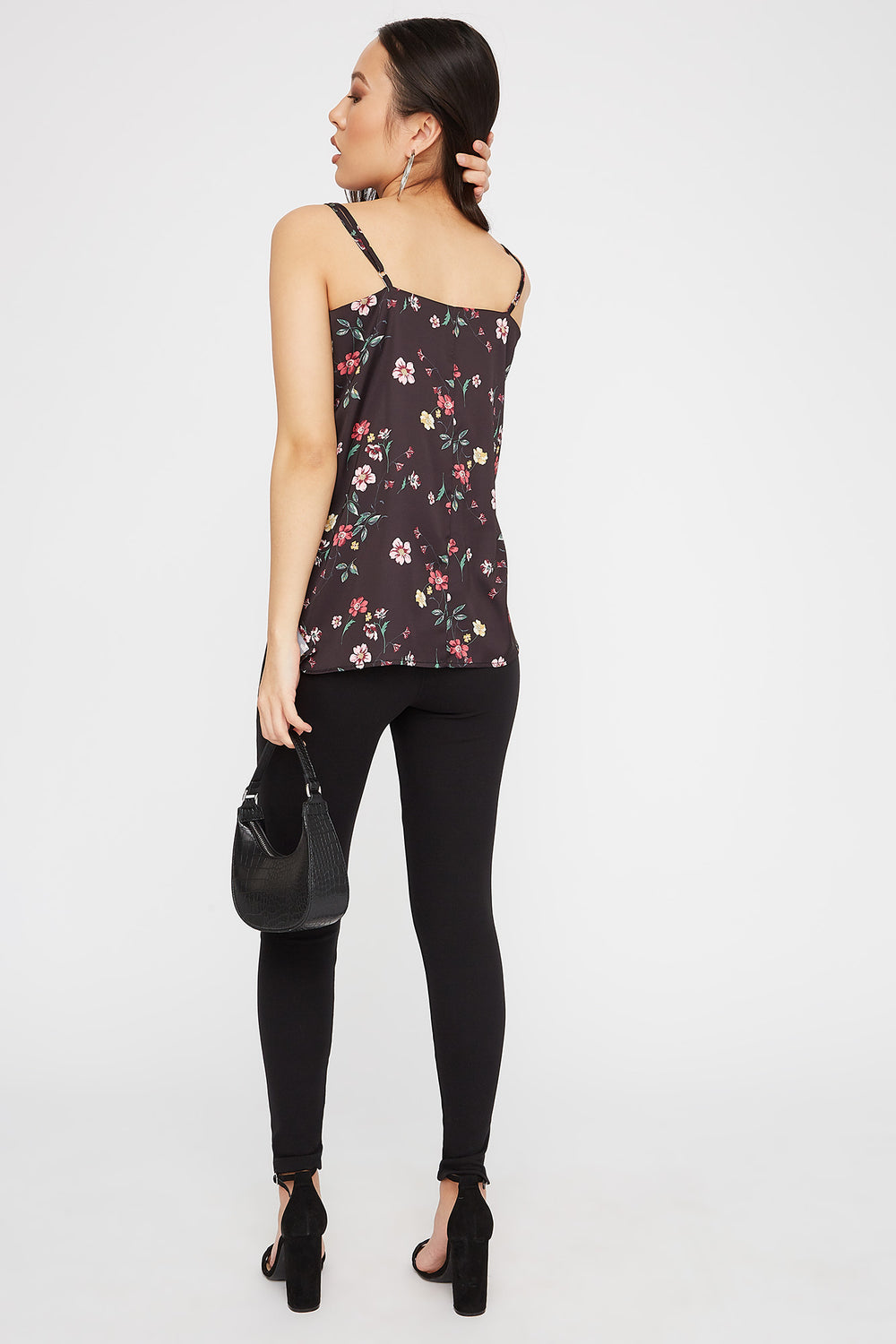 Satin Floral V-Neck Cami Black