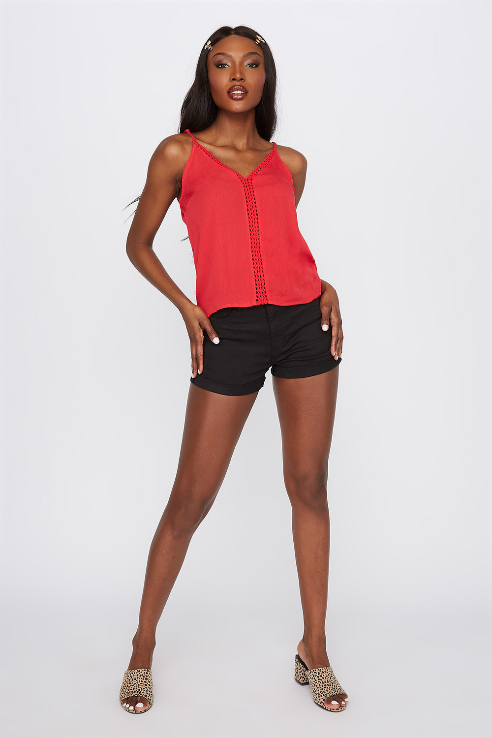 Crochet Insert V-Neck Cami Red