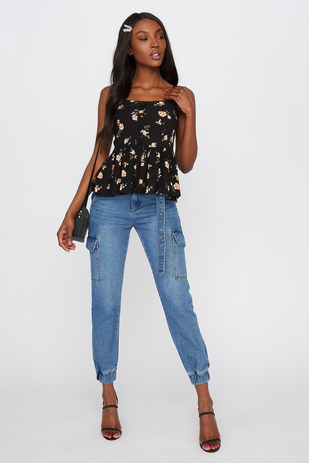 Floral Peplum Button Tank Black