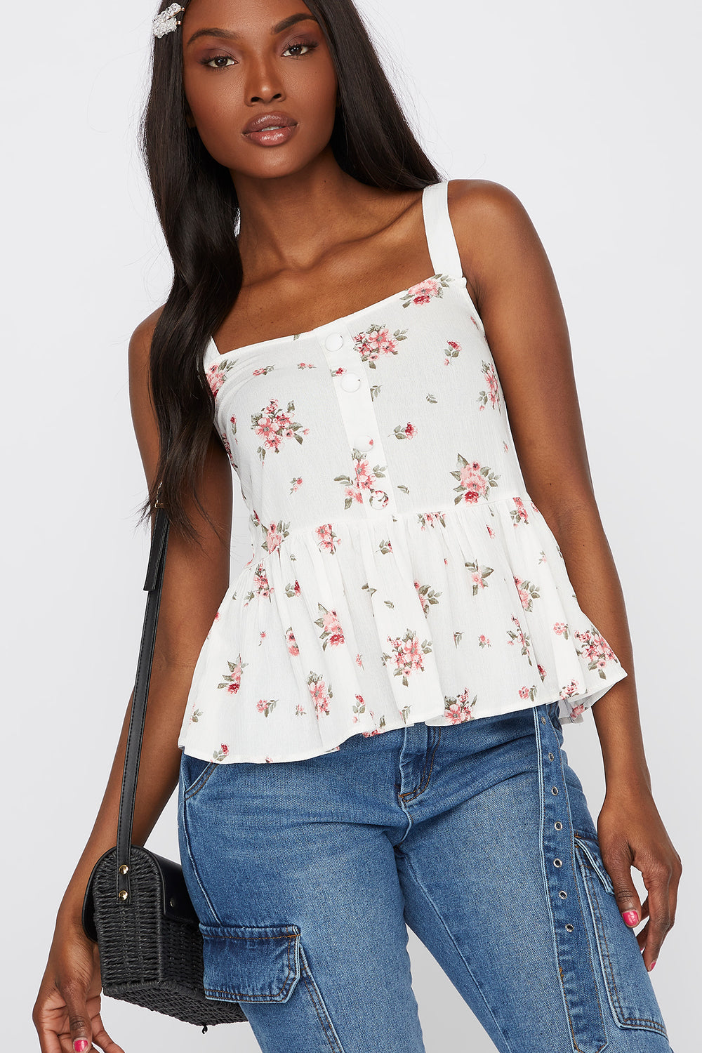Floral Peplum Button Tank White