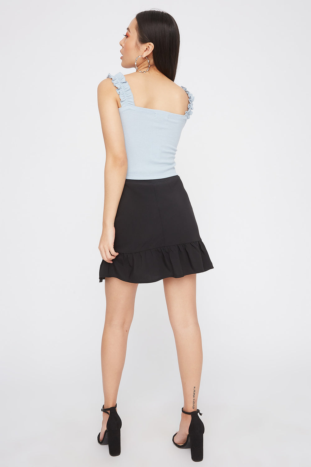 Ribbed Ruffle Strap Square Neck Tank Baby Blue