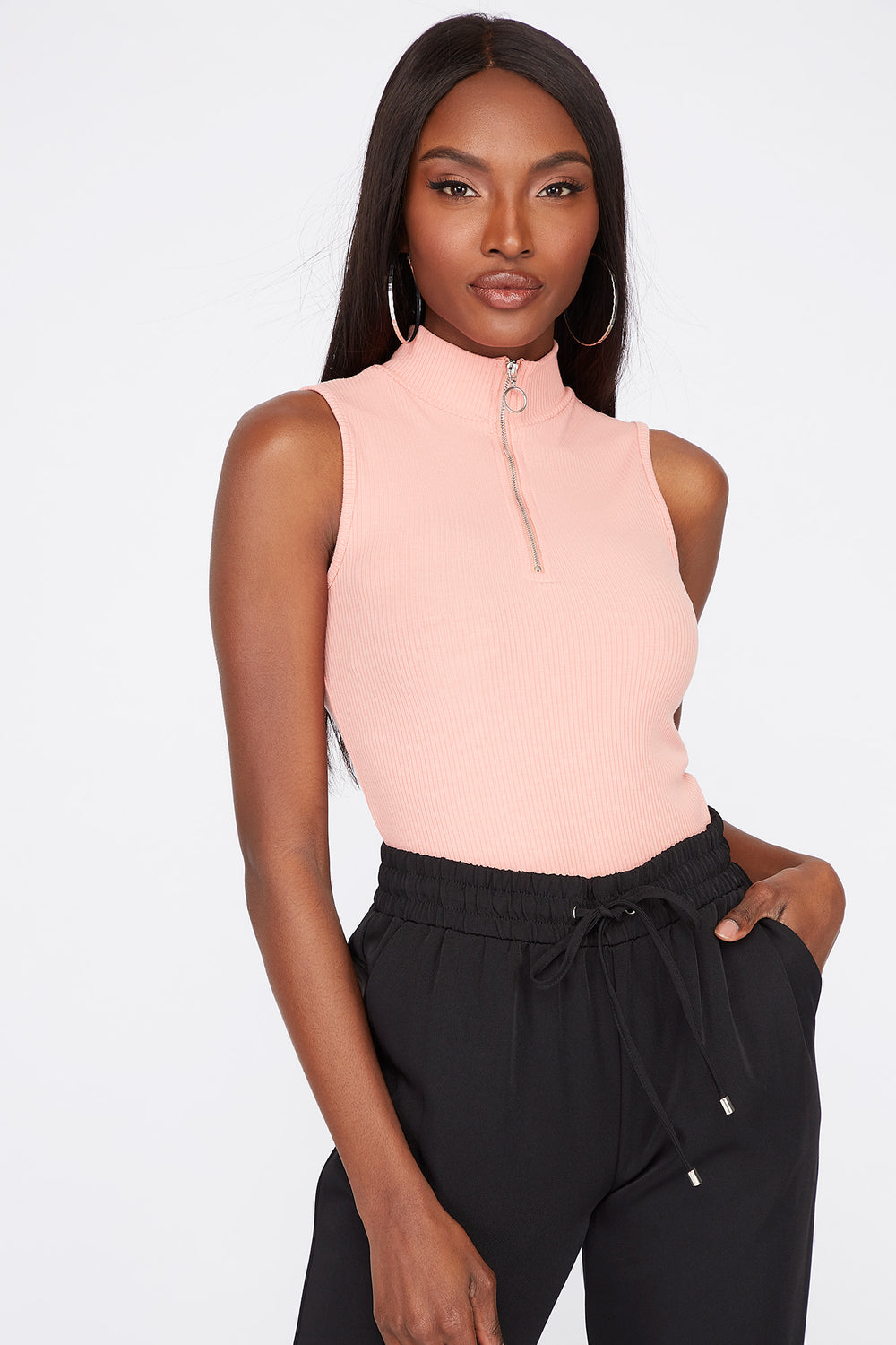 Mock Neck Ribbed Half-Zip Sleeveless Top Pink