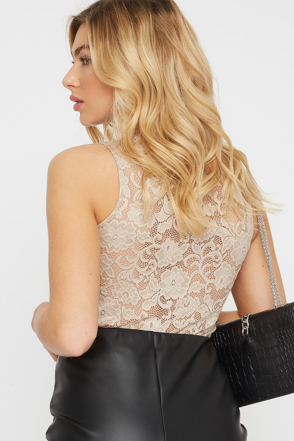 Lace Sleeveless Blouse Taupe