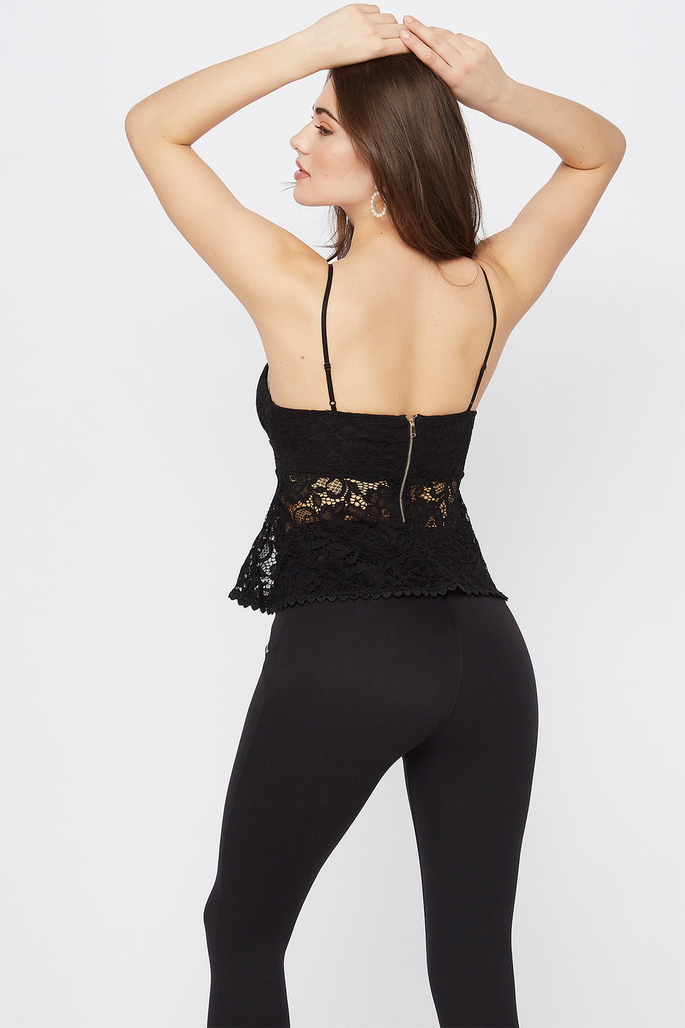 Lace V-Neck Peplum Cami Black