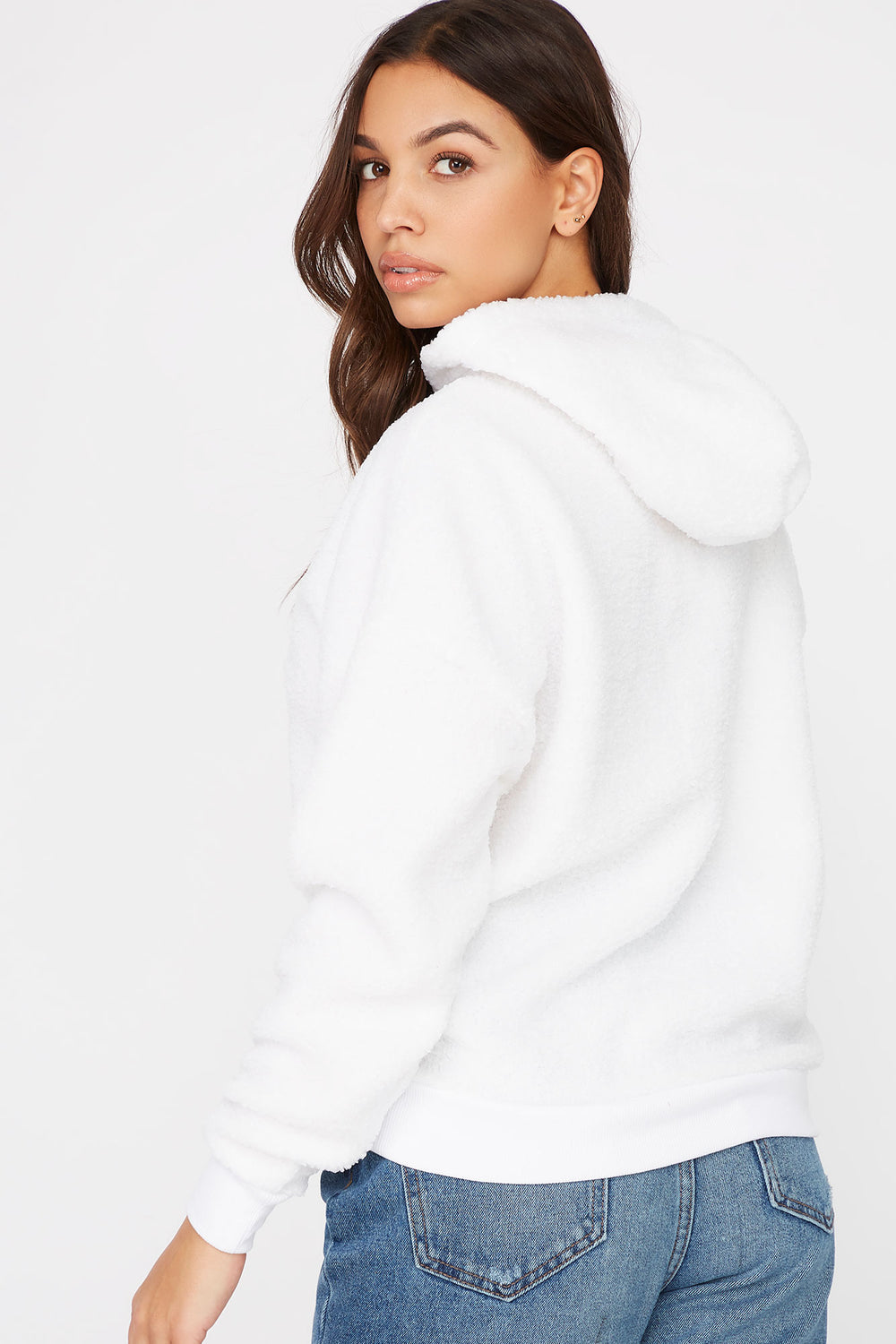 Sherpa Popover Hoodie White