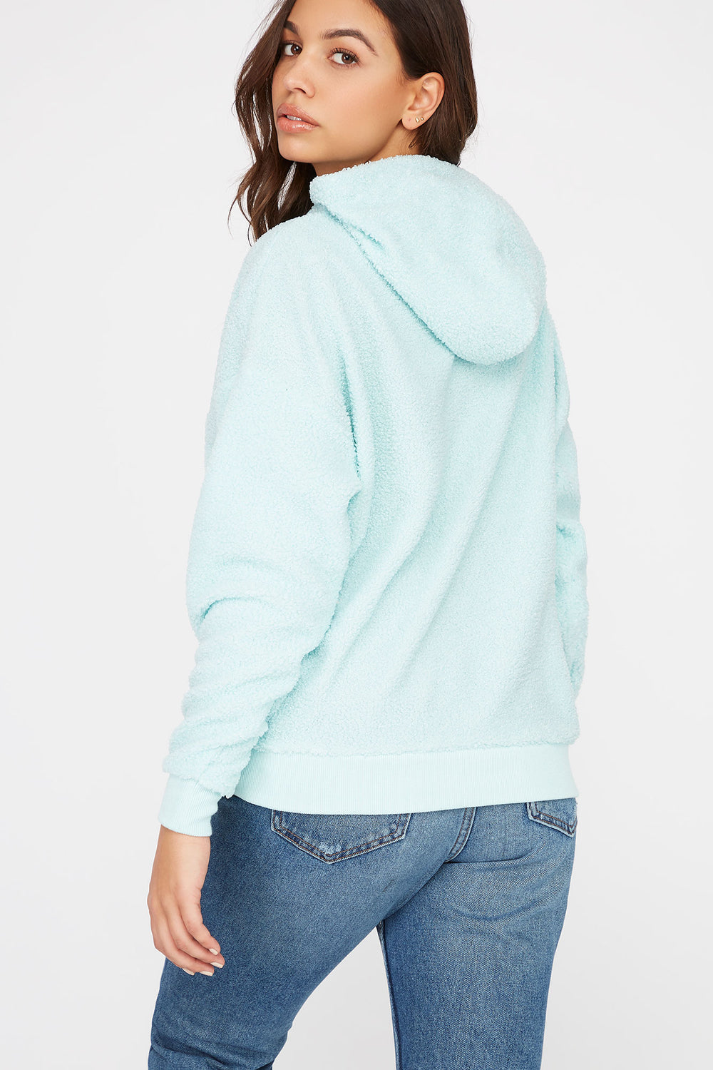 Sherpa Popover Hoodie Turquoise