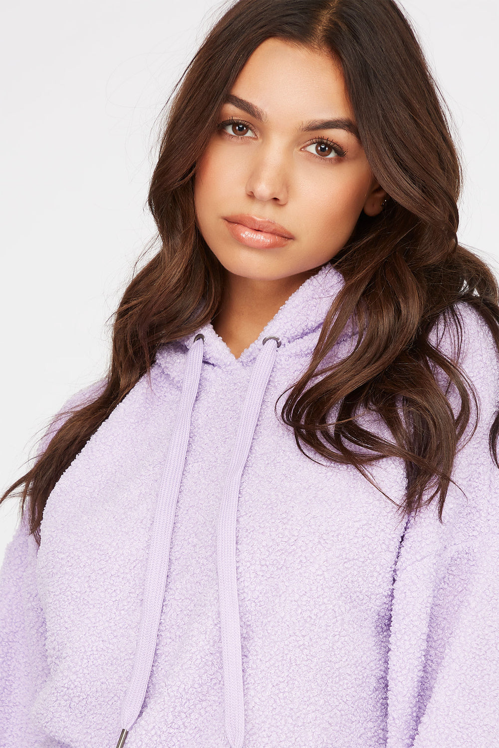 Sherpa Popover Hoodie Lilac