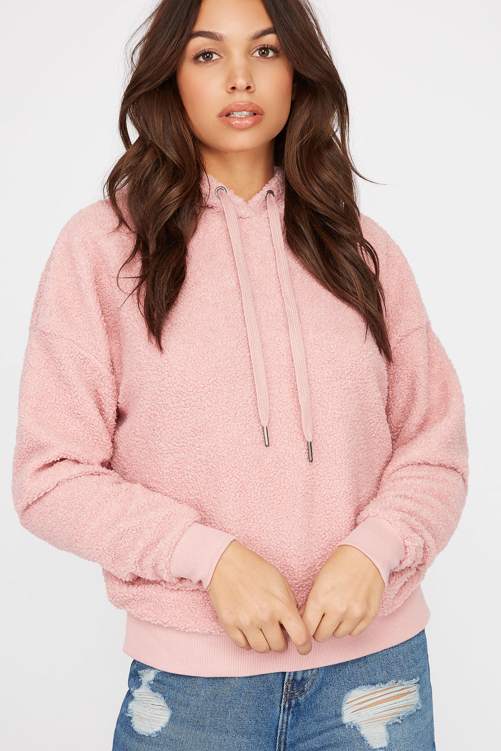Sherpa Popover Hoodie Dusty Rose