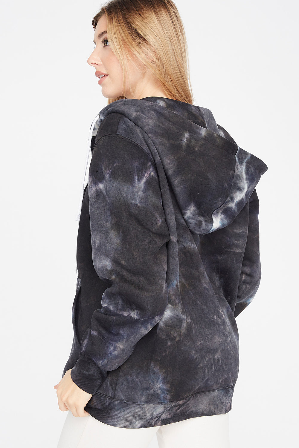 Fleece Black and White Tie Dye Oversized Zip-Up Hoodie Black with White