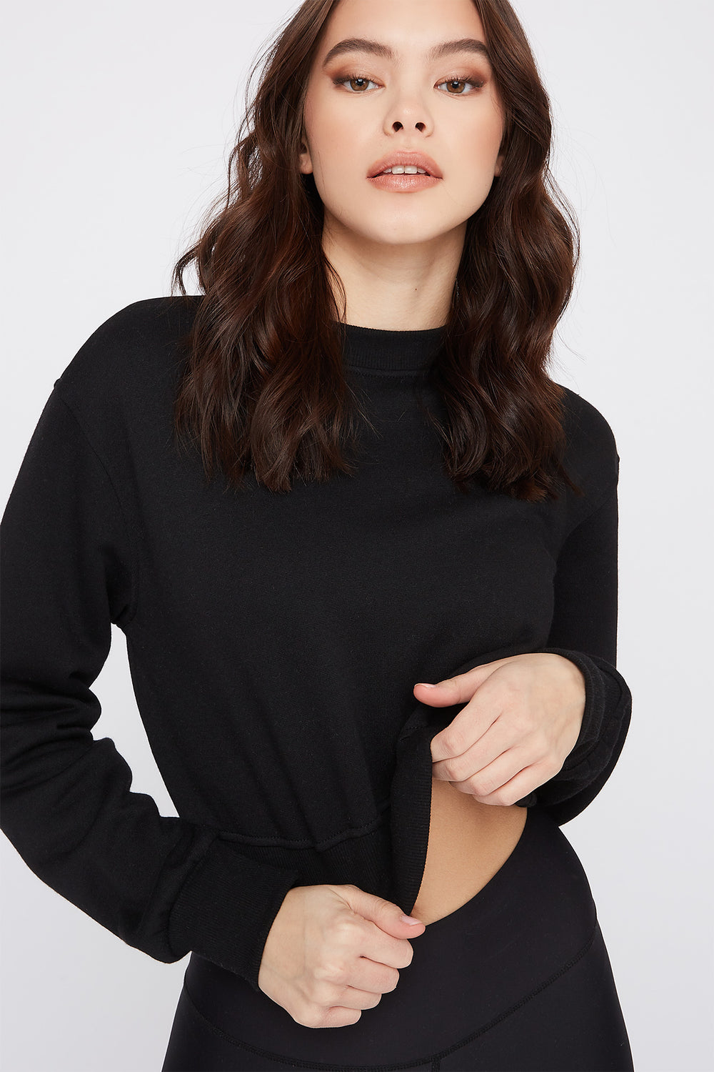 Cropped Crew Neck Sweater Black