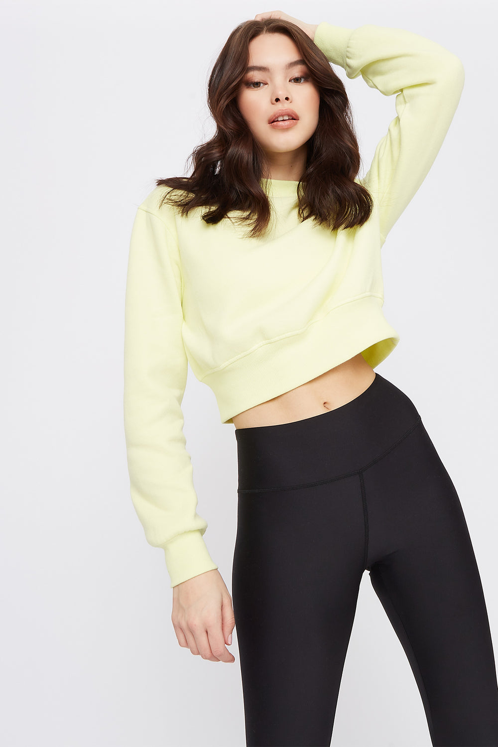 Cropped Crew Neck Sweater Neon Yellow
