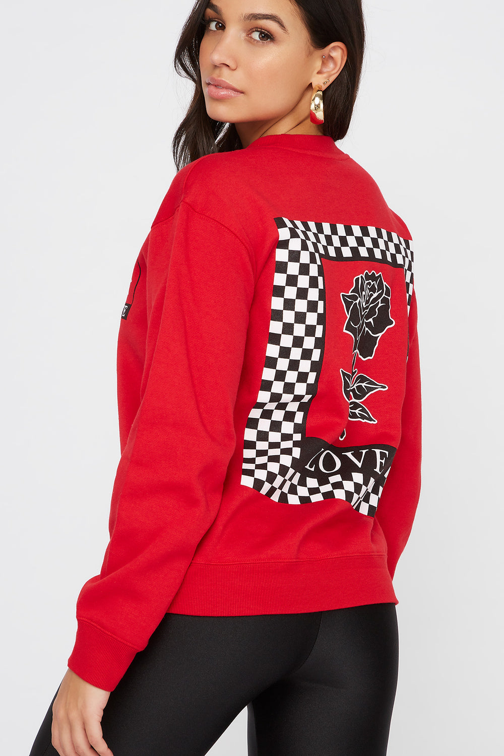 Love Rose Crew Neck Sweatshirt Red