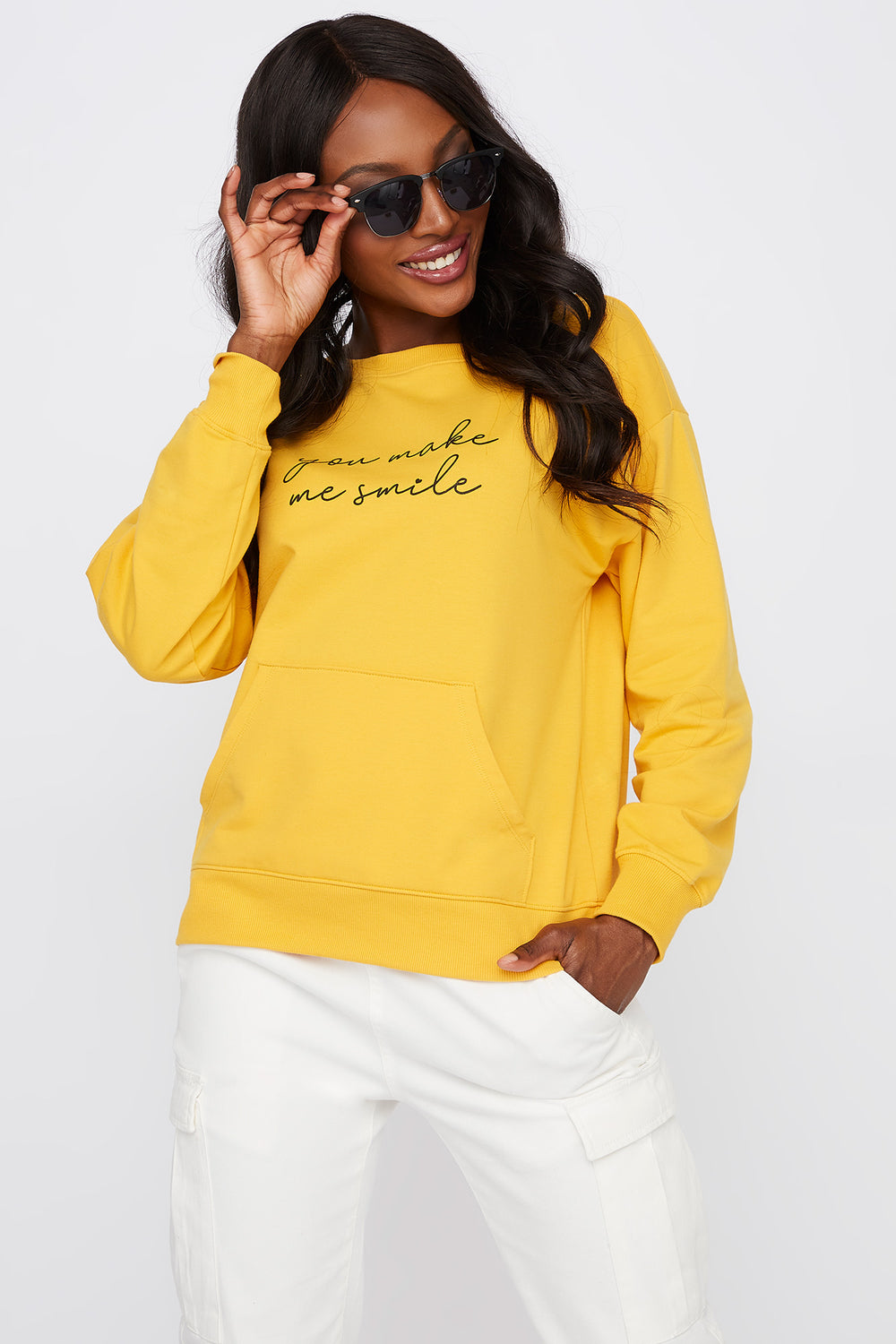 Graphic You Make Me Smile Crew Neck Sweater Mustard