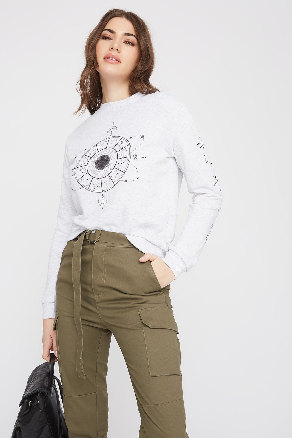 Graphic Astrology Graphic Crew Neck Sweatshirt Heather Grey