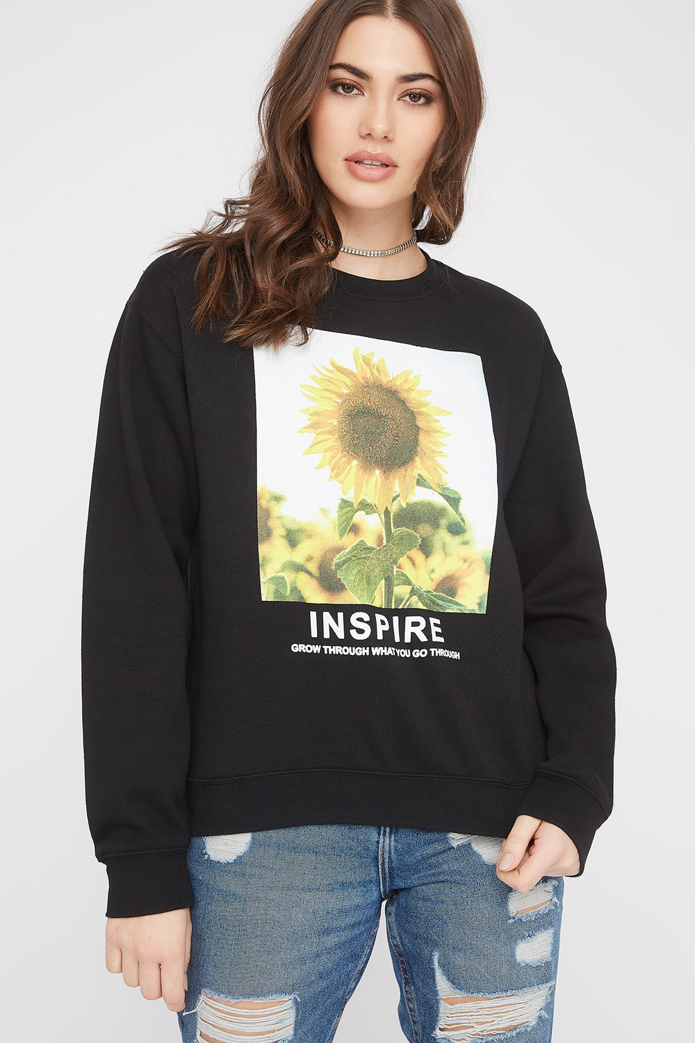 Sunflower Photo Box Boyfriend Crew Neck Sweater Black
