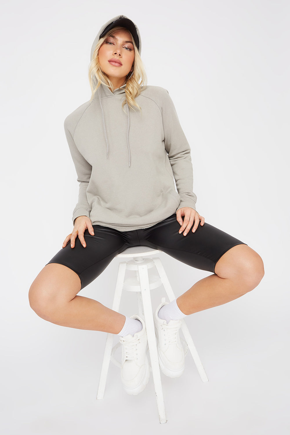 Solid Raw Hem Hoodie Light Grey