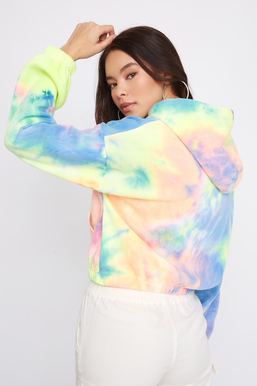 Tie Dye Cropped Fleece Hoodie Multi
