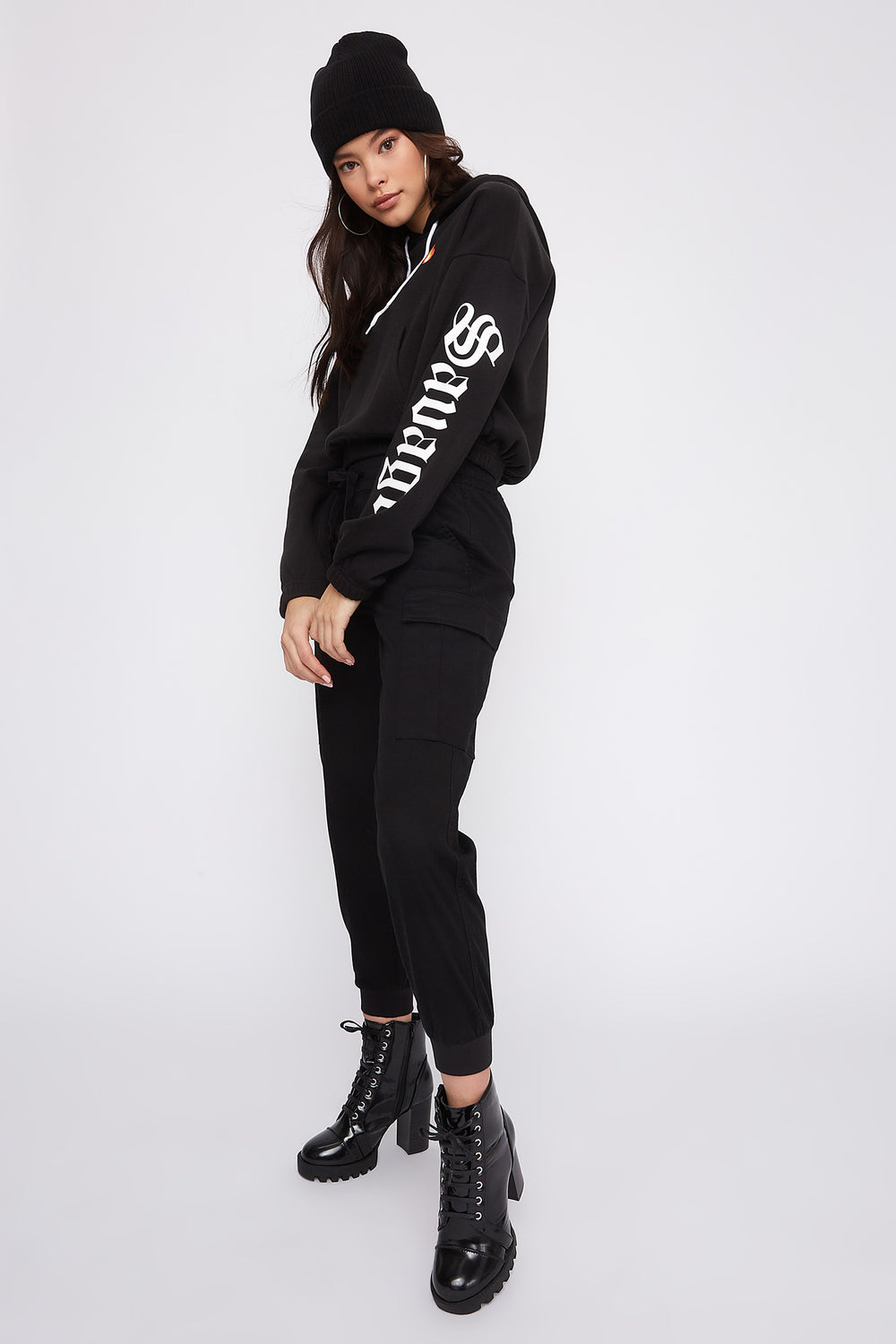 Fleece Graphic Cropped Hoodie Black