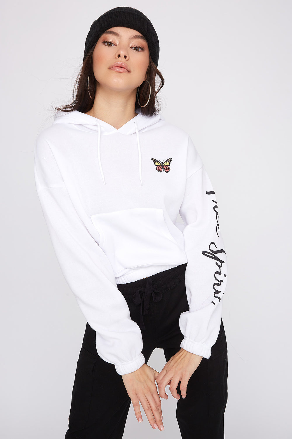 Fleece Graphic Cropped Hoodie White