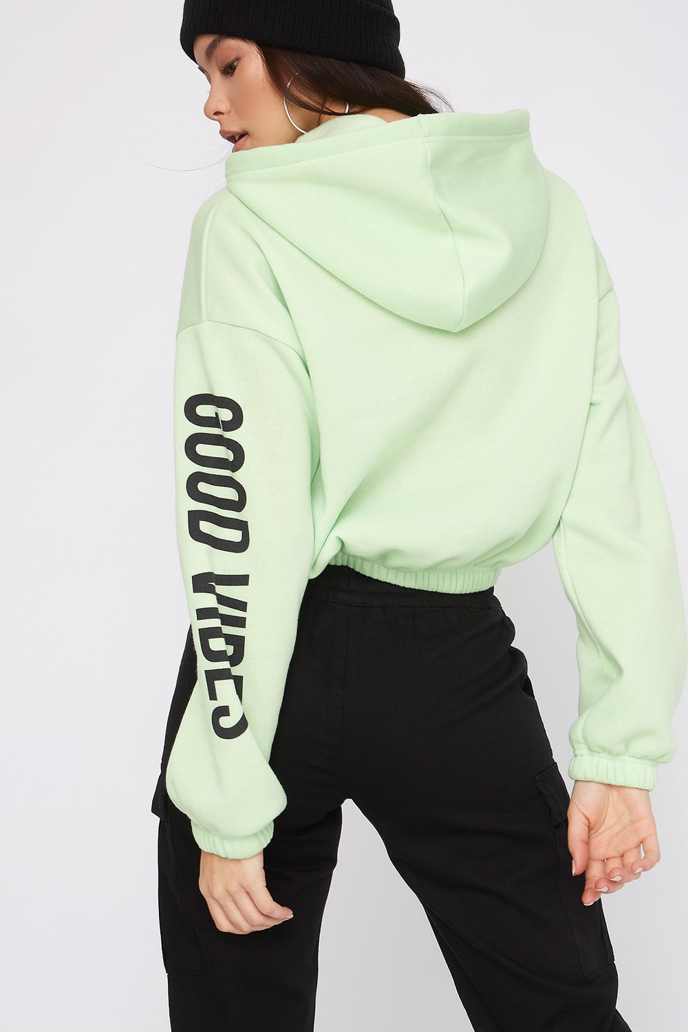 Fleece Graphic Cropped Hoodie Neon Green