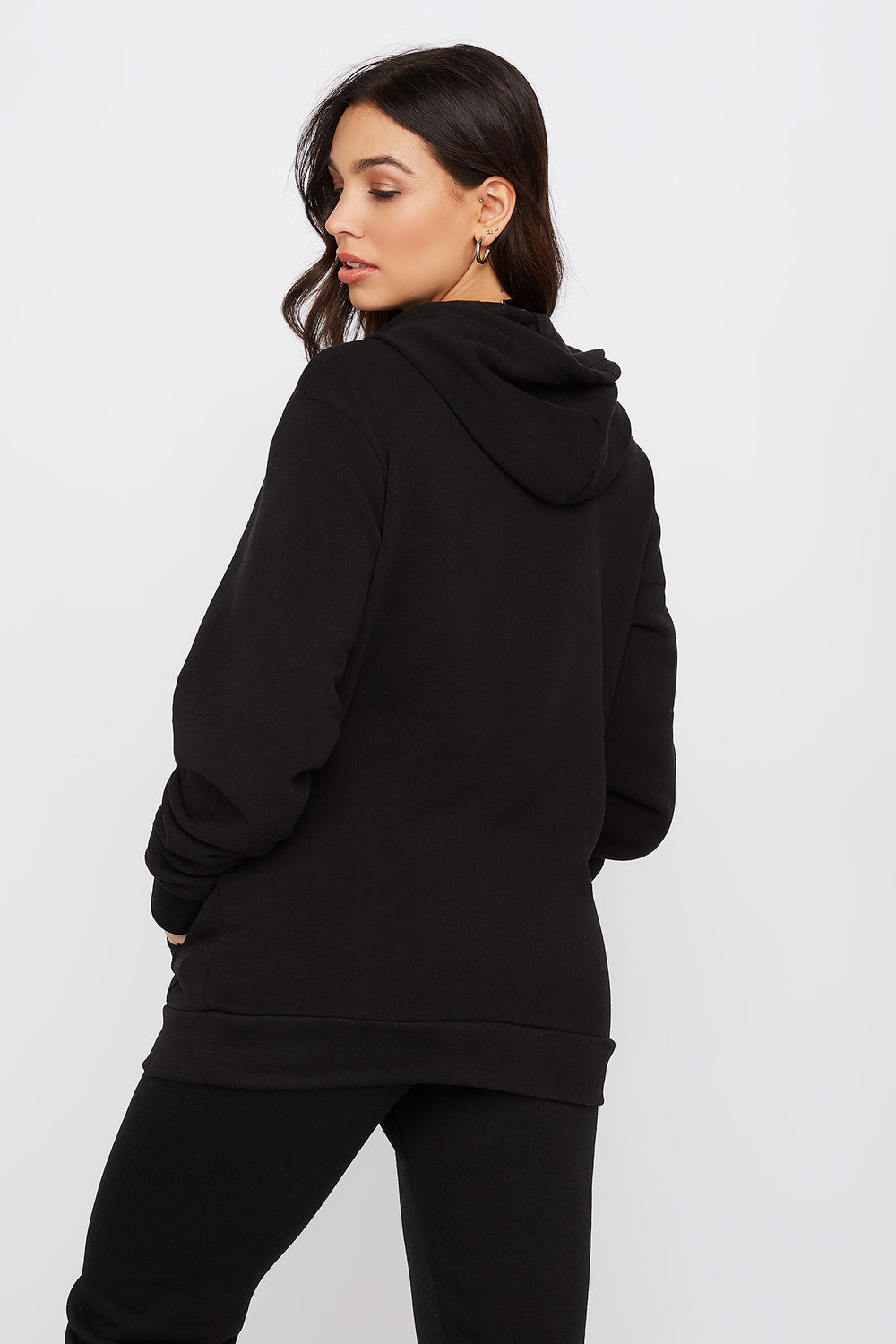 Embroidered Graphic Hoodie Black
