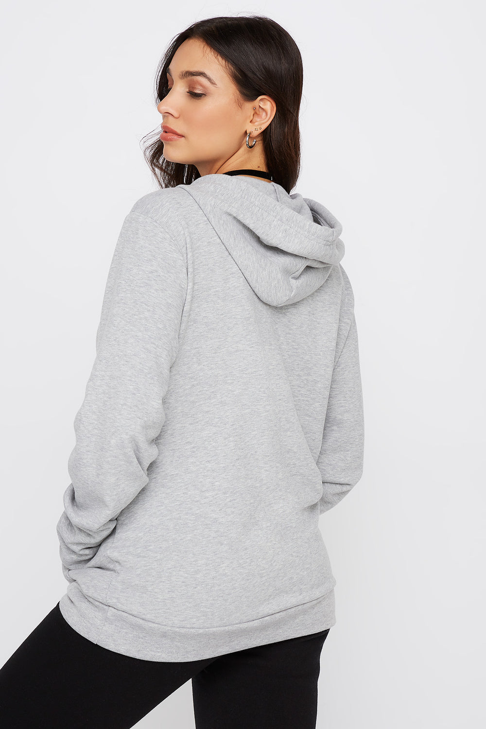 Embroidered Graphic Hoodie Heather Grey