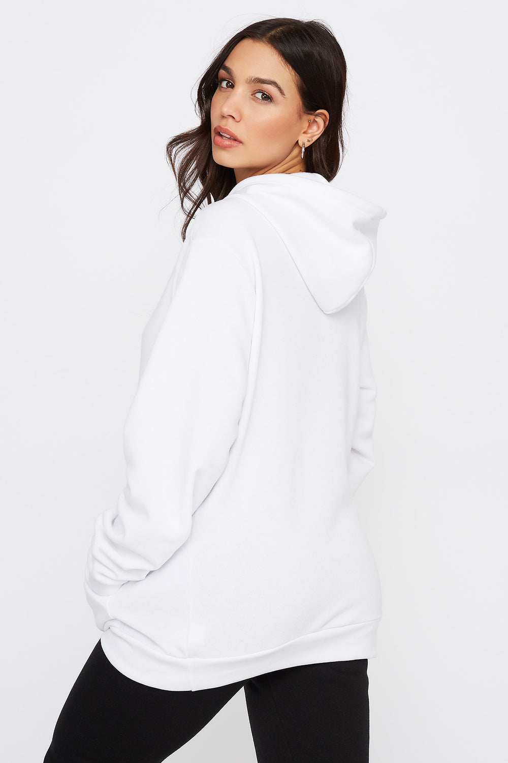 Embroidered Graphic Hoodie White