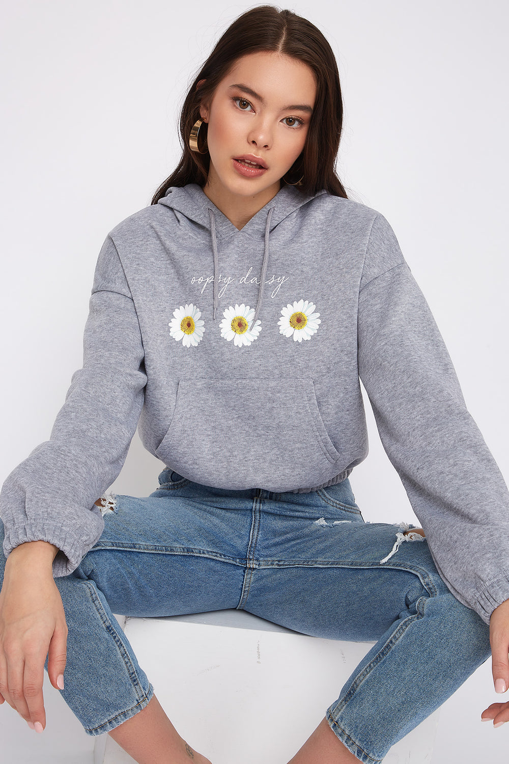 Graphic Fleece Cropped Hoodie Heather Grey