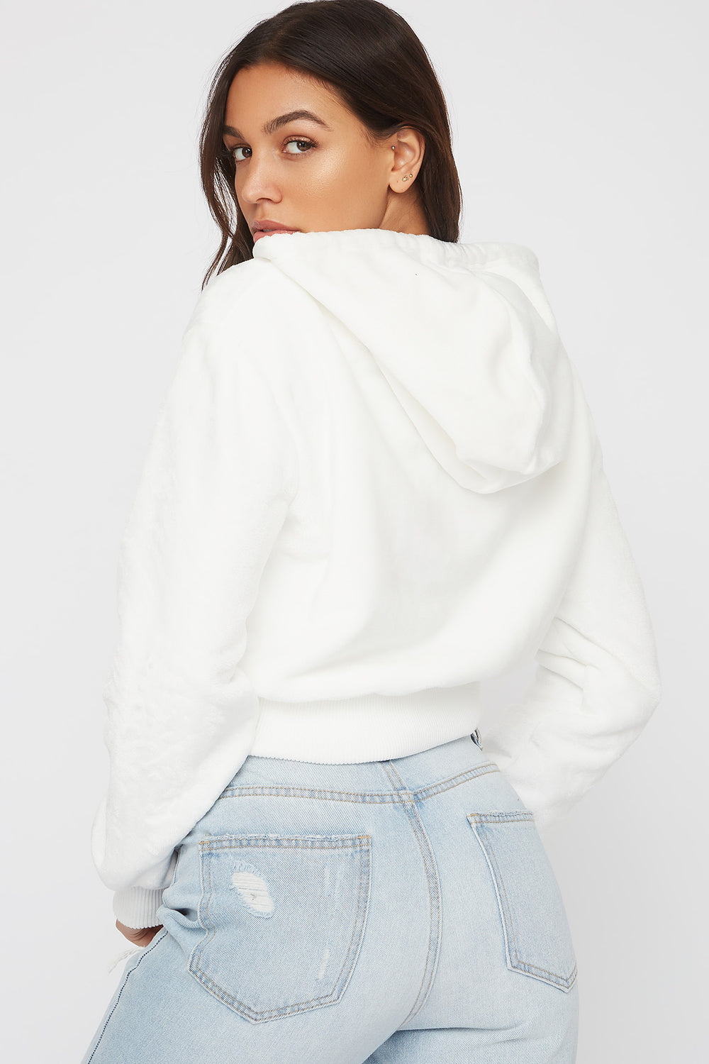 Faux-Fur Zip-Up Hoodie Off White