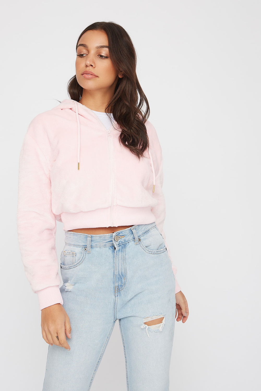 Faux-Fur Zip-Up Hoodie Light Pink