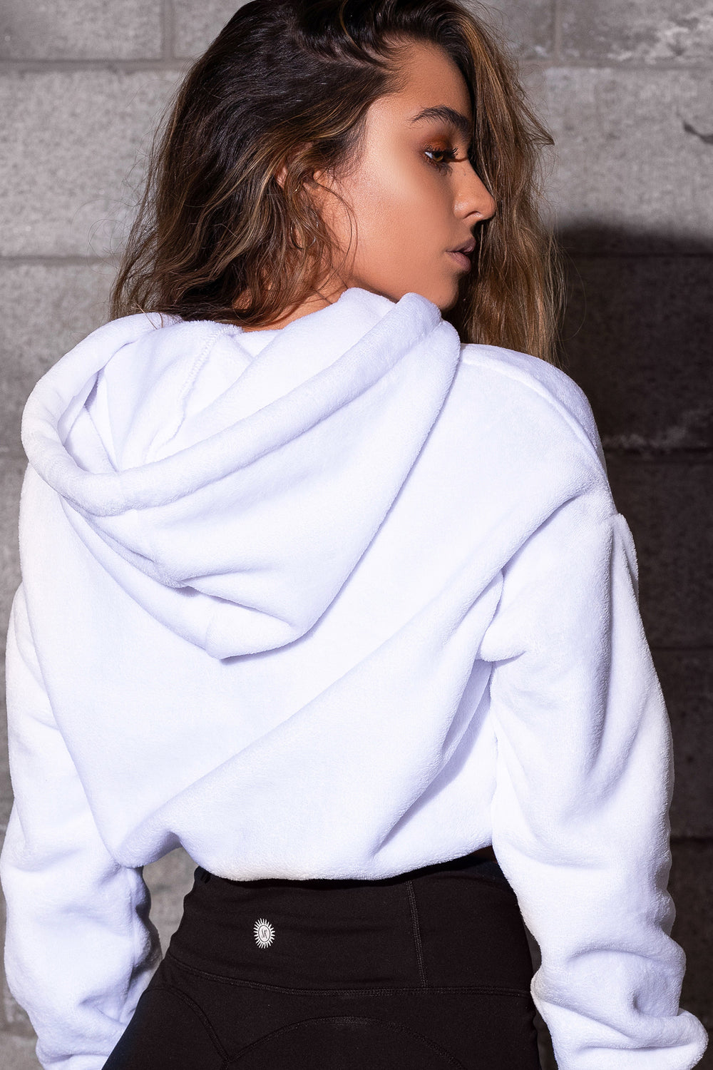 Sommer Ray Super Soft Faux-Fur Drawstring Cropped Hoodie White