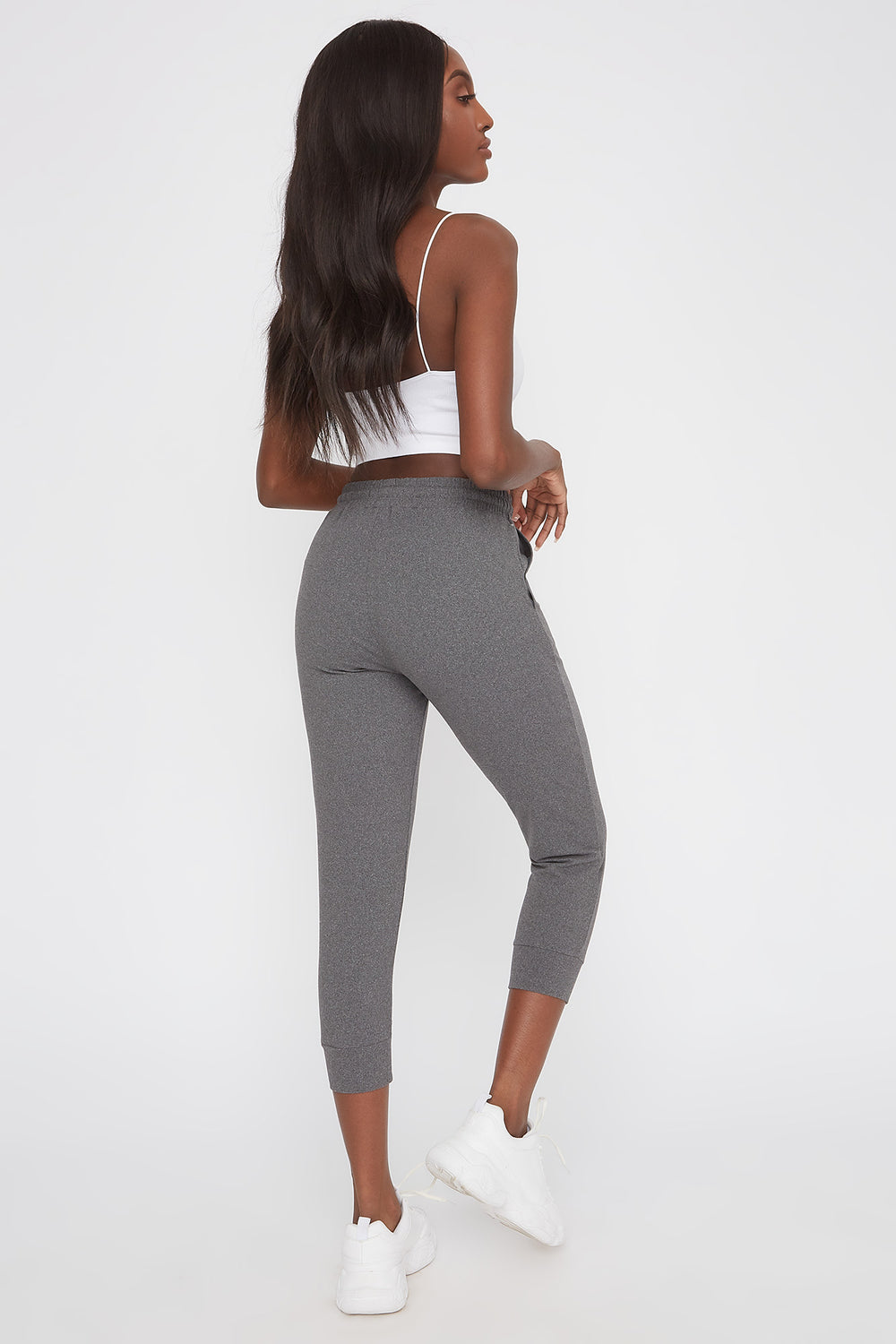Super Soft Cropped Jogger Heather Grey