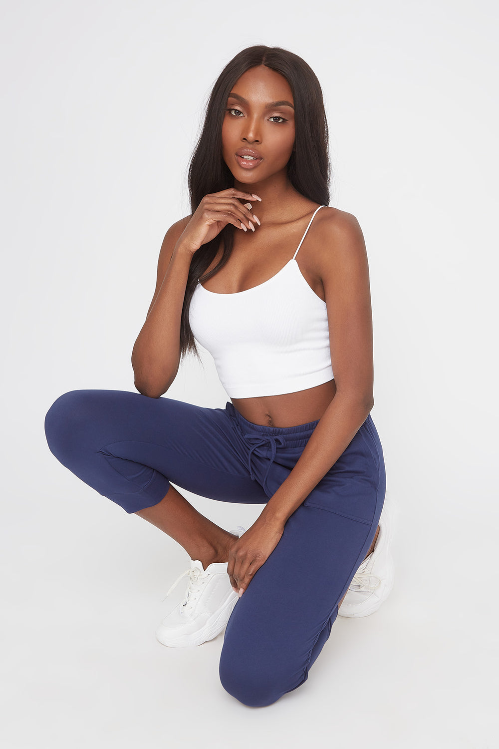 Super Soft Cropped Jogger Navy